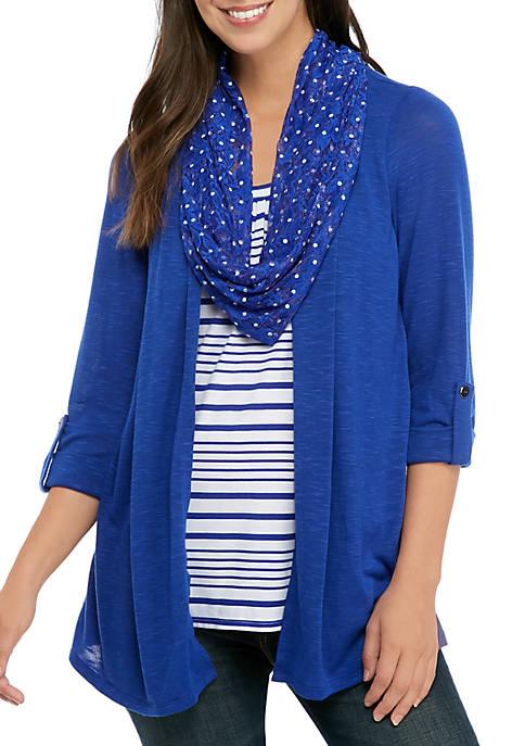 Kim Rogers® Petite 3/4 Sleeve Stripe Inset Top