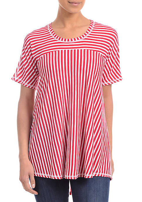 Kim Rogers® Petite High-Low Striped Tee