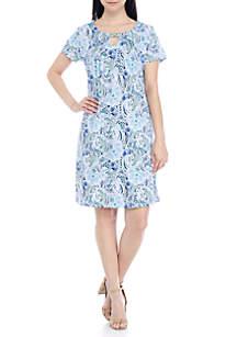 Petite Size Blue Pleat Front Short Sleeve Dress