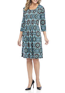 Petite Puff Print Elbow Sleeve Pleated Dress