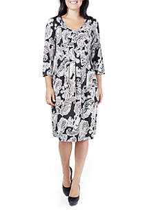 Petite Puff Print 3/4 Sleeve Pleated Dress