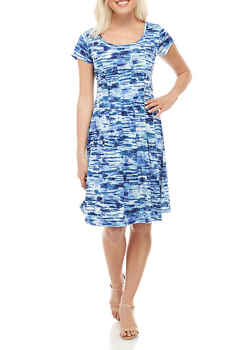 Petite Cap Sleeve Fit and Flare Dress
