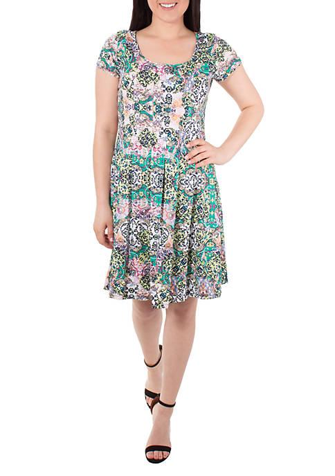 Petite Cap Sleeve Pleated Dress