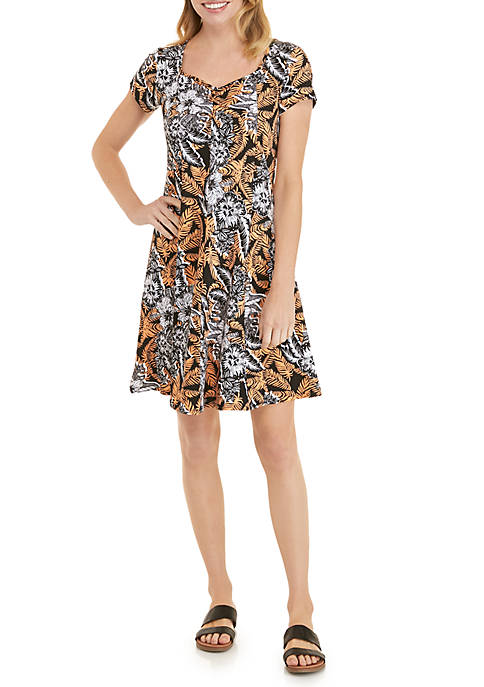 Kim Rogers® Petite Cap Sleeve Flare Dress with