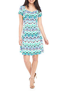 Kim Rogers® Petite Cap Sleeve Flare Dress with Ruching