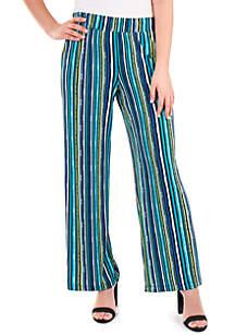 Kim Rogers® Petite Stripe Flare Leg Pants