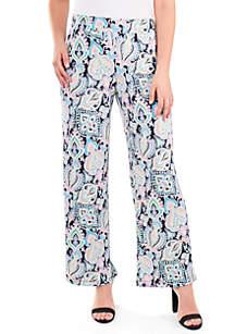 Kim Rogers® Petite Paisley Flare Leg Pants
