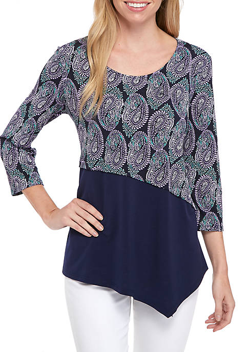 Kim Rogers® Petite Three-Quarter Asymmetrical Hem ITY Top