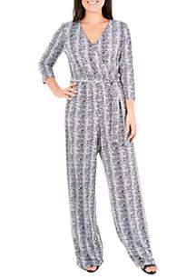 Petite Striped Faux Wrap Jumpsuit