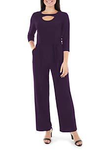 Petite Belted Cutout Wide Leg Jumpsuit