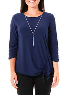 Petite Ruched 3/4 Sleeve Top with Necklace