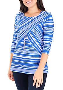 Kim Rogers® Petite Criss Cross Stripe Top