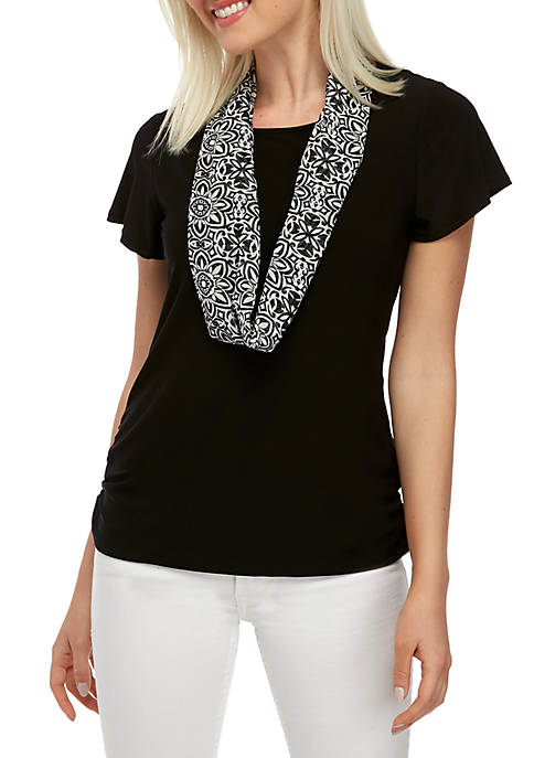 Petite Knit Top and Scarf