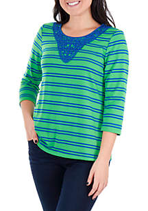 Petite Crochet Trim Stripe Top