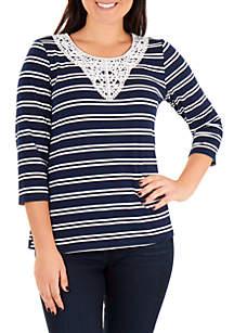 Kim Rogers® Petite Crochet Trim Stripe Top
