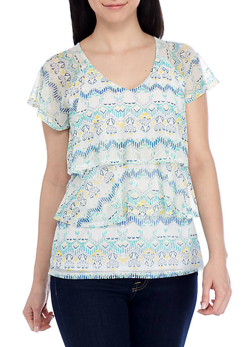Kim Rogers® Petite Short Sleeve 3-Tier V-Neck Top