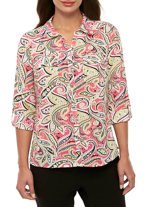 Kim Rogers® Petite Printed Windowpane Utility Top