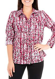 Kim Rogers® Petite Collar Silky Stretch Top