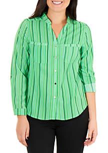 Kim Rogers® Petite Mandarin Collar Utility Top