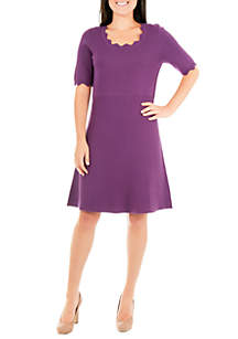 NY Collections Petite Scallop Fit and Flare Sweater Dress