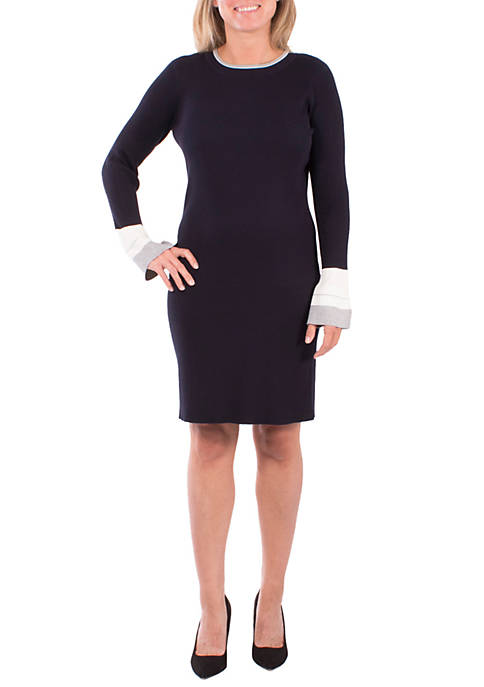 NY Collections Petite Bell Sleeve Sweater Dress