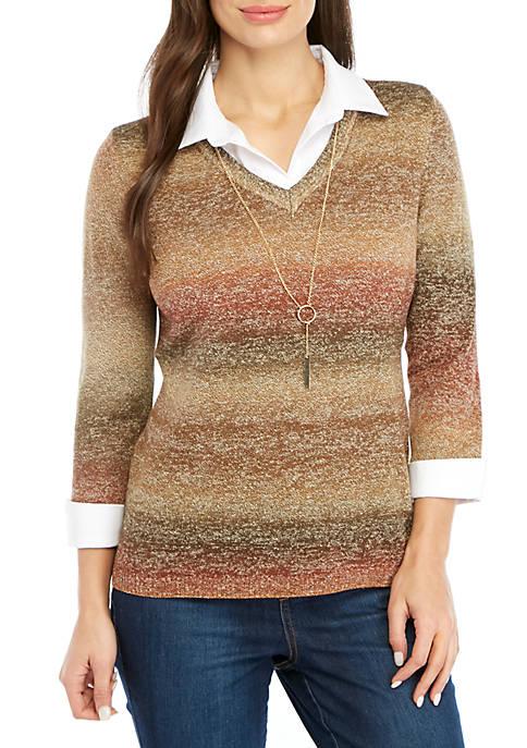 Kim Rogers® Petite 3/4 Sleeve V-Neck 2Fer Pullover