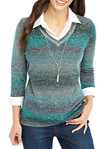 Petite 3/4 Sleeve V-Neck 2Fer Pullover with Necklace