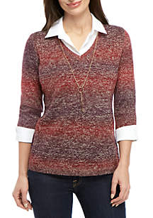 Kim Rogers® Petite 3/4 Sleeve V-Neck 2Fer Pullover with Necklace