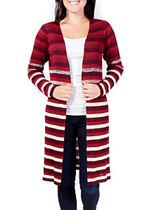 NY Collections Petite Ombre Stripe Duster Cardigan