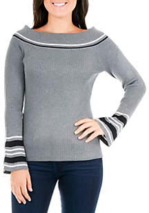 Petite Off-The-Shoulder Varsity Sweater