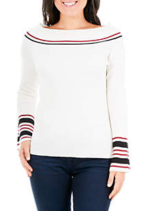 Petite Off-The-Shoulder Varsity Sweater