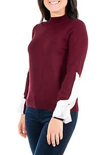 Petite Mock Neck Ruffle Sleeve Sweater