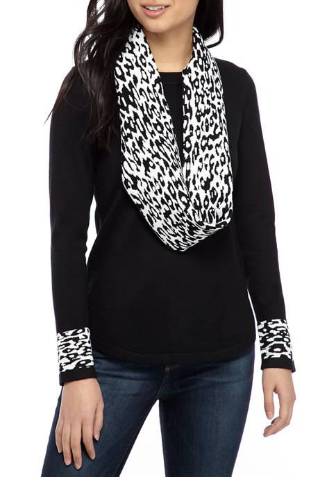 Petite Long Sleeve Infinity Scarf Sweater