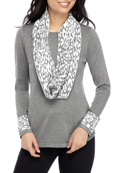 Kim Rogers® Petite Long Sleeve Infinity Scarf Sweater