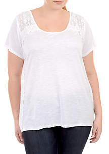 Plus Size Short Sleeve Lace Sides High Low Top
