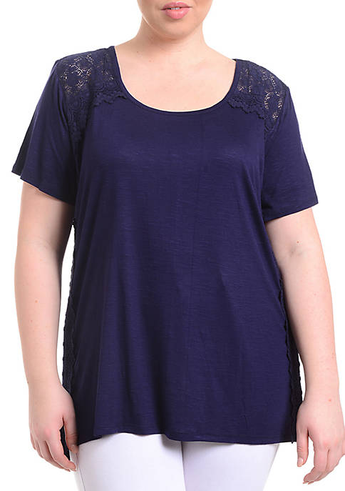 Kim Rogers® Plus Size Short Sleeve Lace Sides