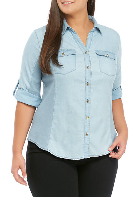 Kim Rogers® Plus Size Knit To Woven Shirt