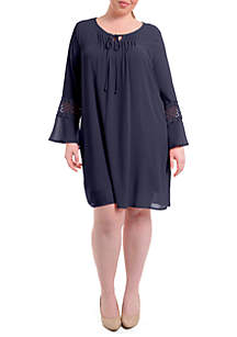 Plus Size Crochet Bell Sleeve Peasant Dress
