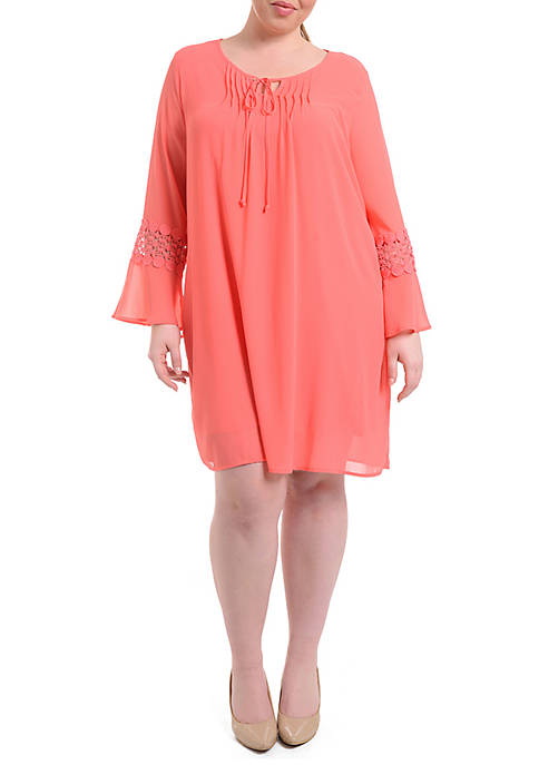 Plus Size Crochet Bell Sleeve Peasant Dress