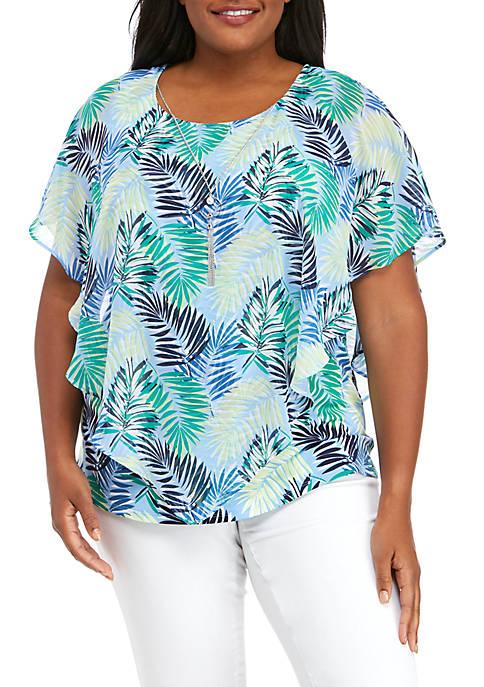 Plus Size Palm Leaf Poncho Top