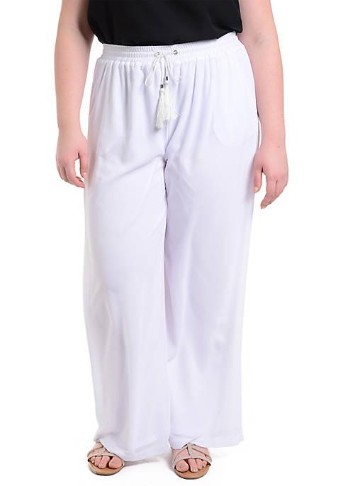Kim Rogers® Plus Size Tassel Drawstring Palazzo Pants