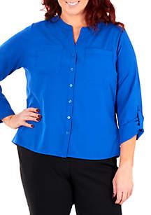Kim Rogers® Plus Size Madarin Collar Utility Top