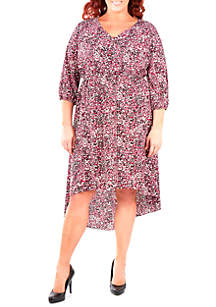 Plus Size High Low V-Neck Dress