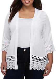 Kim Rogers® Plus Size Lace Trim Woven Cardigan