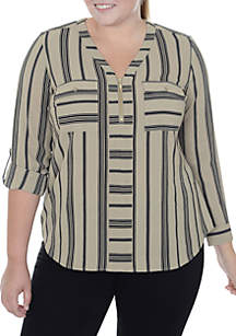 Plus Size Zip-Front Striped Blouse