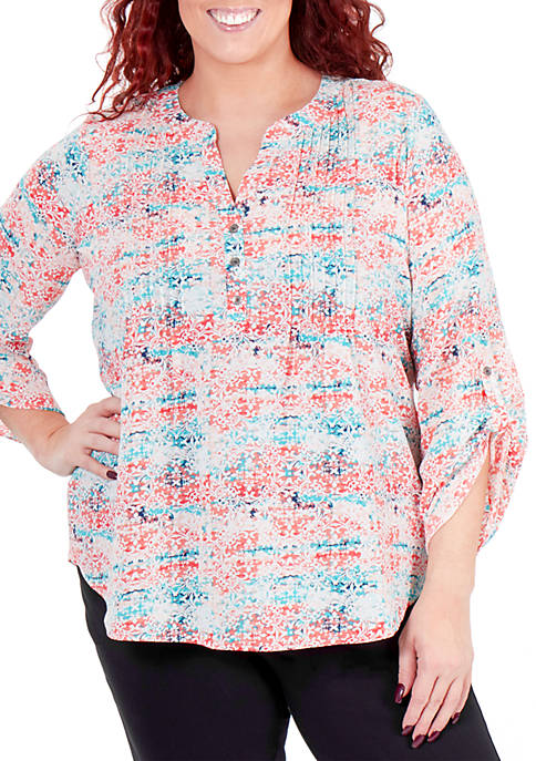 Kim Rogers® Plus Size Pleated Button Top
