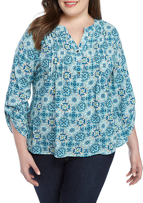Plus Size Medallion Utility Top with Pleats