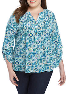 Kim Rogers® Plus Size Medallion Utility Top with Pleats
