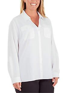 Kim Rogers® Plus Size Crinkle Utility Top