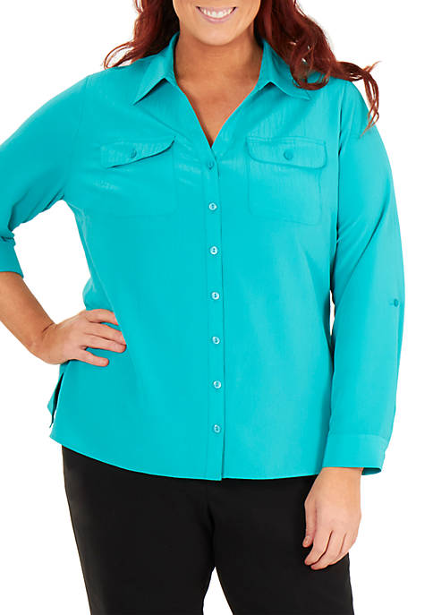 Kim Rogers® Plus Size Crinkle Utility Top